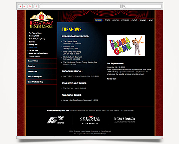 Web - Web Design - Broadway Theatre League - Website 2