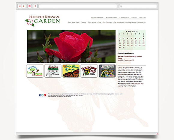 Web - Web Design - Huntsville Botanical Garden - Website 1