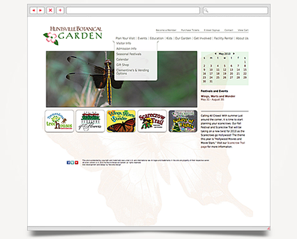 Web - Web Design - Huntsville Botanical Garden - Website 2