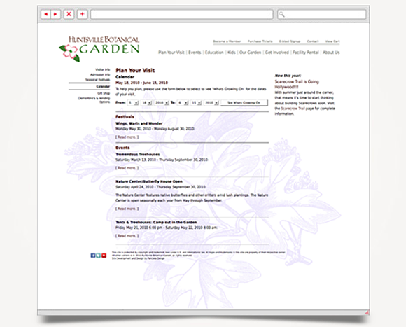 Web - Web Design - Huntsville Botanical Garden - Website 5