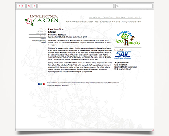 Web - Web Design - Huntsville Botanical Garden - Website 6