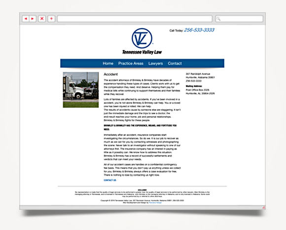 Web - Web Design - Tennessee Valley Law - Tennessee Valley Law Web Site 3
